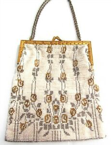 Vintage French Beaded Purse Handbag White w Gold Tone and Silver Tone Designs