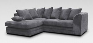 Jumbo Cord Corner Sofa Suite Set Footstool 3 2 Seater Grey Brown Black Chairs