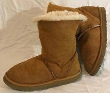 J.U.S.T Light Brown Mid Calf Sheepskin Lovely Boots Size 5 (462Q)