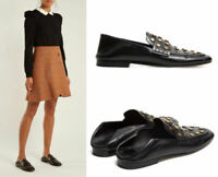 Isabel Marant Feenie Studded Flat Fold-Down Black Leather Loafer Size 41 $665