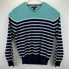 Tommy Hilfiger Mens Colorblocked Striped V-Neck Sweater Blue L