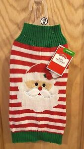 Holiday Time Simply Dog Green/Red/White Str[ped Santa Christmas Sweater