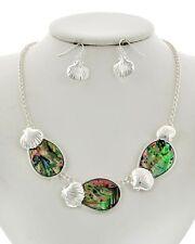 TRUE Silver Scallop SEASHELL ABALONE Coastal Necklace & Earrings Set NWT New