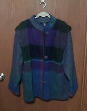 RISS Norway Modell Purple Blue Green Plaid Sweater Jacket Coat Sz L / XL TUB25
