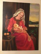 pintura en oleo de virgen con niño Jesus en brazos