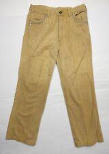 Vintage 1970's Golden Horse Men's 34 x 30 tan cotton Jeans Pants Blue pocket hem