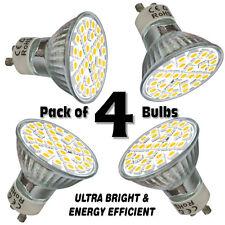 Pack de 4x Bombillas LED GU10 blanco día 6.5W Ultra Brillante SMD5050 lámparas de luz del punto