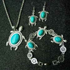 Retro Cut Blue Turquoise Sea Turtle Pendant Earrings Bracelet Necklace Set Fm