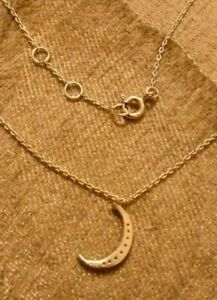 Silver Half Moon Pendant Necklace With Chain 1.5 g Sterling Silver Fast Delivery
