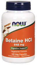 NOW BETAINE HCL (120 CAPSULES) hydrochloride hci digestive enzymes 12/2019EXP
