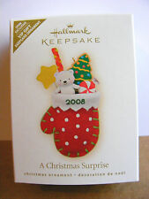 Hallmark 2008 VIP Gift Ornament A Christmas Surprise Bear Candy And Cookie