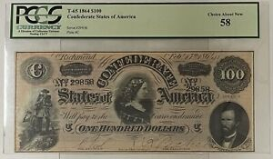"""1864 T-65 $100 Confederate Note """"Lucy Pickens"""" PCGS 58 Choice About New"""