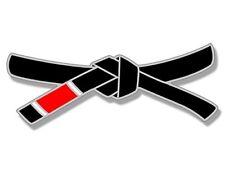 3x6 inch Jiu Jitsu Black Belt Shaped Sticker - martial arts full mma fight win