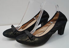 GEOX RESPIRA Black Leather Sparkle Bow Detail Mid Heel Court Shoes Sz: 7/7.5