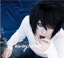 death note l * lawliet short layered black cosplay anime haar perücke + freie wig cap