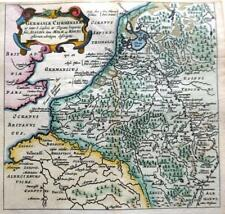 NETHERLANDS GERMANY RHINE BY CLUVER / BERTIUS c1661 GENUINE 350 YEAR OLD MAP