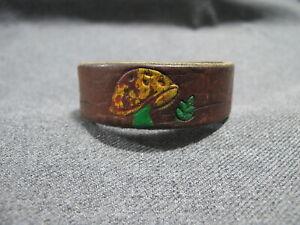 Vintage boho hand painted mushroom & turtles genuine leather clasped bracelet
