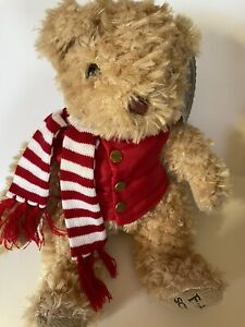 """2017 FAO Schwarz 16"""" Golden Tan Teddy Bear With Red Puffer Vest And Scarf"""
