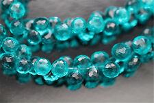 Peacock Blue Green Quartz Facet Onion Briolette 6.5 - 7.5 mm 6 Gemstone Beads