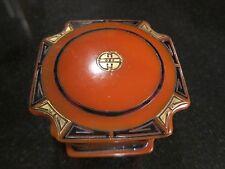 Vintage Bakelite/Celluloid  Box - Orange, Black and Gold - Art Deco