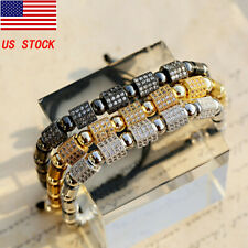 Fashion CZ Copper Plated Bracelets Beads Cuff Charm Men Women Jewelry Adjustable