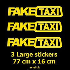 3 Large FAKE TAXI Car Window Vinyl Stickers Slammed Euro Drift Funny Decal 77x16