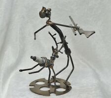 Sonny Dalton Signed Welded Junk Art Metal Sculpture Deer Gets The Hunter 7 1/2""