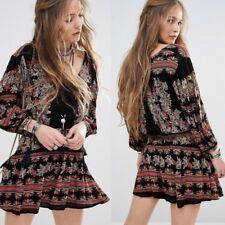 FREE PEOPLE printed Rayon Drawstring Tassel BoHo Mini Dress Tunic sz S