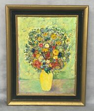 VINTAGE Floral Still Life Painting Vintage Acrylic Painting Original Art Framed