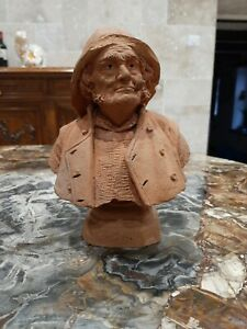 BLOT Eugène Terracotta XIXe buste matelot fumant la pipe statue terre cuite port
