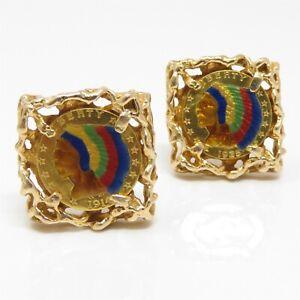 NYJEWEL 14k Yellow Gold Enamel 22K $2.50 Indian Head Gold Coin Cufflinks 31.7g