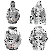 Anime Ahegao Cosplay Hoodie Sweatshirt Hooded Pullover Unisex Zipper Jacket Coat
