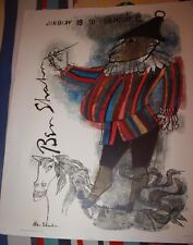 Ben Shahn 1964 Abstract jester with pen  lithograph Poster for art exposition