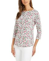 Charter Club Womens Cotton Floral Print Boat Neck Top  Bright White Sz Large