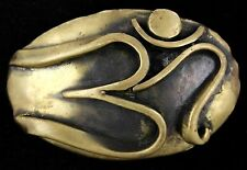 Vtg David Yurman Putnam Art Works Brass Hippie OM Brutalist Abstract Belt Buckle