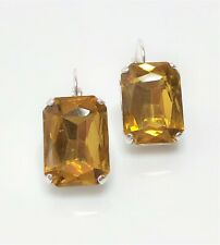 Light Topaz Glass Crystal Silver Plated Earrings Georgian Paste Women Gift Boxed
