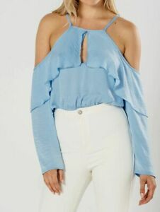 Womens Ladies Baby Blue Cold Shoulder Frill Bodysuit