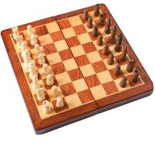 Folding Wooden Chess Set - Portable Travel Chess Game Set with Storage Bags