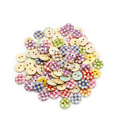 Lot 100pcs 15mm Mixed Round Polka Dot 2 Holes Wood Buttons Sewing Scrapbooking