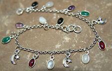 925 Sterling Silver belcher bracelet Moon Star Moonstone Garnet Amethyst Onyx