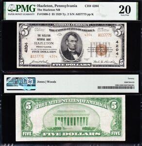 VERY NICE *SCARCE* Bold VF 1929 $5 HAZLETON, PA National Note! PMG 20! A037775