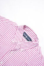 POLO RALPH LAUREN White Pink Awning Bengal Stripe Button Down Cotton Shirt Small