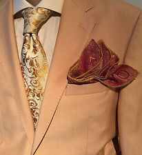 Pocket Square Golden Maroon Paisley & Gold Stitched Borders By Squaretrapny.com