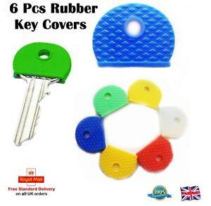 6 x Rubber Key Caps Coloured Covers Plastic Top Cap Cover Tag Door Identifier