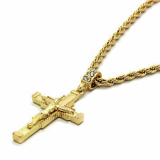 "Mens 14k Gold Plated Jesus Hanged Cross Pendant With 24"" inches Rope Chain s"