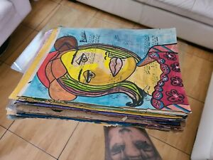 PABLO PICASSO'S WATERCOLOR DRAWINGS ON PAPER SIGNED SEALED 50 PIECES
