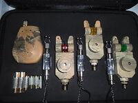 3 x Camo Wireless Mag roller bite alarms + receiver + illuminated indicators,