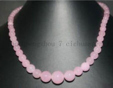 Natural 6-14mm Pink Jade Round Gemstone Beads Necklace 18''