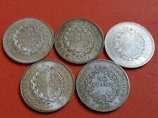 Lot 5 pièces argent 50 Francs Hercule année 1974 / 75 / 76 / 77 / 78 Lot n° 22