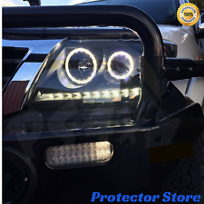 LED Black Angel Eye Headlights DRL Halo Pair to suit Toyota Hilux 11-15